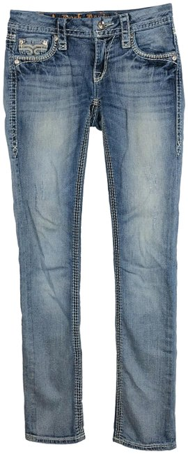 Item - Blue Lily Embellished Crystals Straight Leg Jeans Size 25 (2, XS)