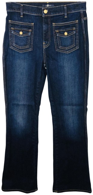 Item - Blue Dark Rinse With Front Flap Pockets Wash Boot Cut Jeans Size 28 (4, S)