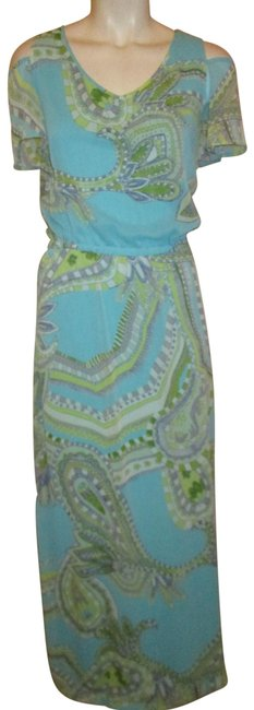 Item - Turquoise Multi Flutter Sleeve Paisley Print Long Casual Maxi Dress Size 6 (S)