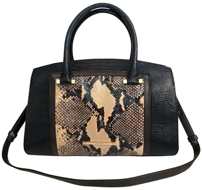 Item - Greta Embossed Python/Snakeskin & Lizard Rare Color Blue White Black Multi Leather Satchel