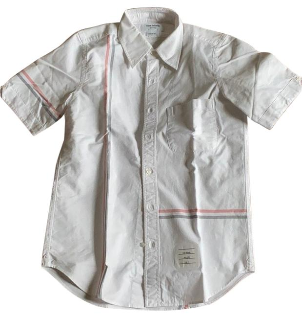 Thom Browne White Short Sleeve Shirt Button-down Top Size 4 (S) Thom Browne White Short Sleeve Shirt Button-down Top Size 4 (S) Image 1