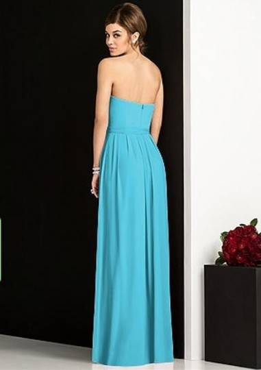 After Six Turquoise Lux Chiffon 6678 Modern Bridesmaid/Mob Dress Size 10 (M)