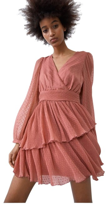 Item - Pale Pink Ruffled Dotted Mesh Short Casual Dress Size 2 (XS)