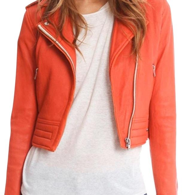Item - Red Leather Cropped Jacket Size 4 (S)