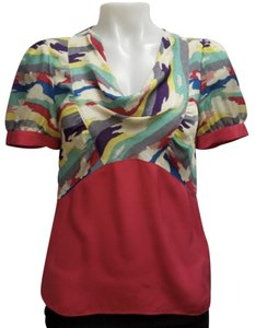 Marc by Marc Jacobs Print Silk Draped Chic Night Out Top Multi and Red
