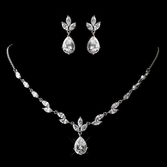 Silver Dainty Rhodium Plated Cz Necklace and Earring Jewelry Set