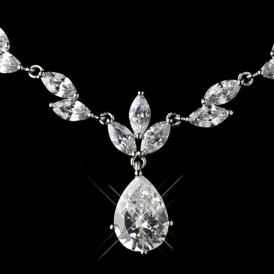 Dainty Rhodium Plated Cz Necklace And Earring Jewelry Set