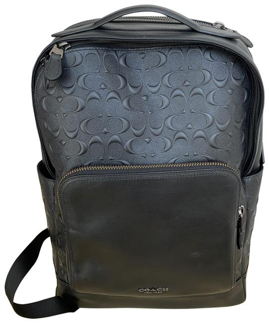 Item - Graham In Signature F50719 Black Coated Canvas and Calf Leather Backpack