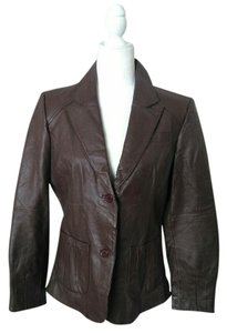 Metropark Leather Classic Work Tailored Brown Blazer