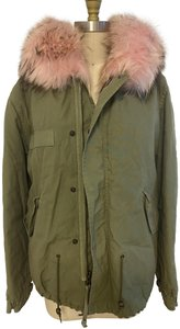 Mr & Mrs Italy Fur Parka Style Racoon Fur Dyed Fur Military Jacket