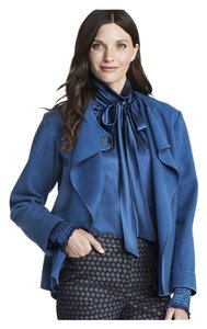 W by Worth Pussybow Silk Office Girls Night Out Top Blue Smoke