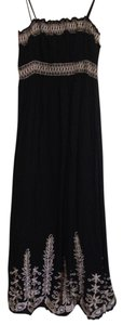 A Pea In The Pod A Pea in the Pod Maternity Spaghetti Strap Black Maxi Dress with Embroidered Details, Size 8
