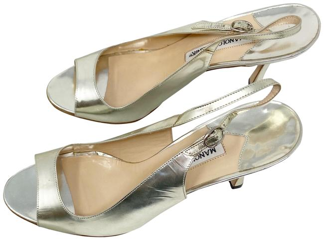 Item - Silver Sling Back Peep Toe Mirror Heels Formal Shoes Size EU 39.5 (Approx. US 9.5) Regular (M, B)