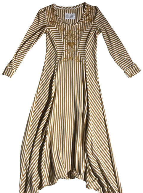Item - Gold Cream Pieced Mid-length Casual Maxi Dress Size 4 (S)