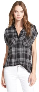 Rails Equipment Joie Plaid Shirt Theory Button Down Shirt black white
