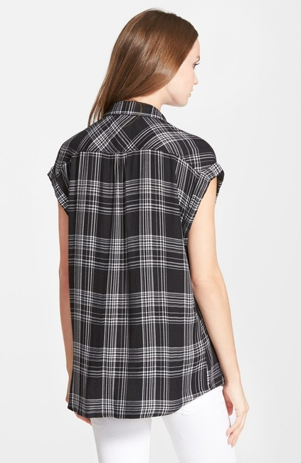 Rails Equipment Joie Plaid Shirt Theory Button Down Shirt black white Image 1