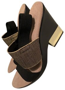 Charleston Shoe Co. black and gold Wedges