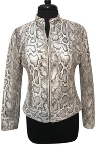 Ruby Rd. Snakeskin Lightweight Zip Up Gray & White Jacket