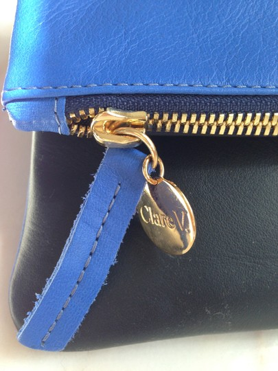 Clare V. Leather Two-tone Blue/Black Clutch