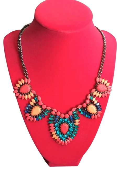 Item - Pink Orange Blue Teal Coral Retired Frida Statement Necklace