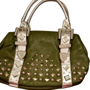 Charm and Luck Satchel in Dark green with crystal adornments.