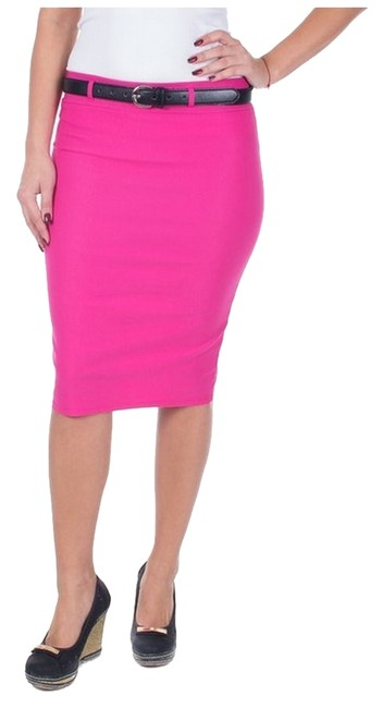 Item - Fuchsia XL W Women's Casual Classic Office Below Knee Stretchy Pencil /W Skinny Belt Skirt Size 16 (XL, Plus 0x)