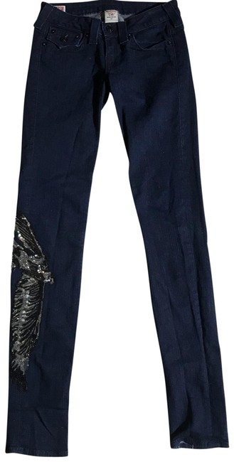 Item - Blue Dark Rinse Julie Sequins Skinny Jeans Size 4 (S, 27)