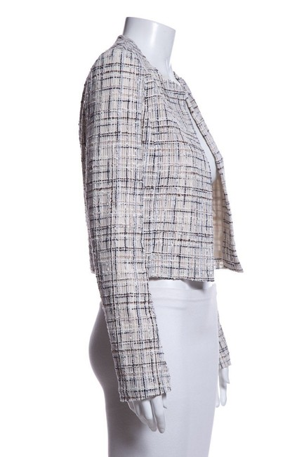 Item - White Black Textured Open Front Jacket Size 6 (S)