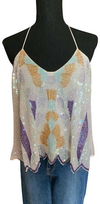 Item - White Blue Gold Beaded Halter Top Size 0 (XS)