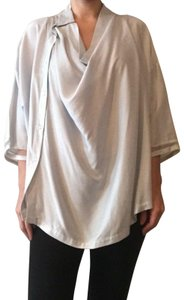Sharon Wauchoub Oversized Loose Fit Silk Drapped Colalr Top Light Blue