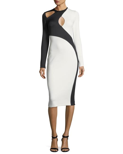 Item - Black White Assymetryc Cutout Colorblock Mid-length Night Out Dress Size 10 (M)