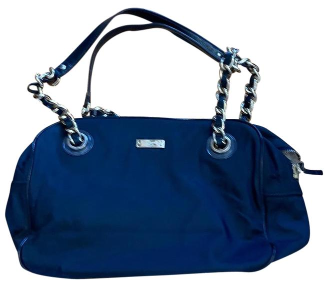Item - Large Navy Blue Tan and Gold Nylon Shoulder Bag