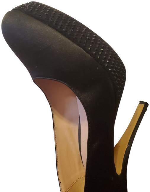 Item - Black Satin with Stiletto Heel and Platform Pumps Size EU 40 (Approx. US 10) Narrow (Aa, N)