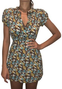 I Love H81 short dress Brown/blue/yellow H8 Floral Puff-sleeve Button-down on Tradesy