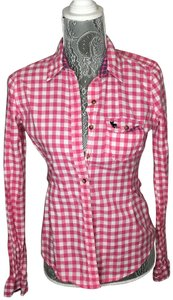 Abercrombie & Fitch Shirt Women Plaid Button Down Shirt Pink and White