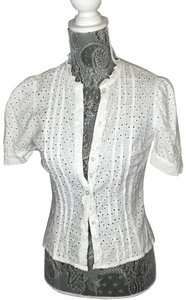 H&M Button-down Short-sleeve Puff-sleeve Top White