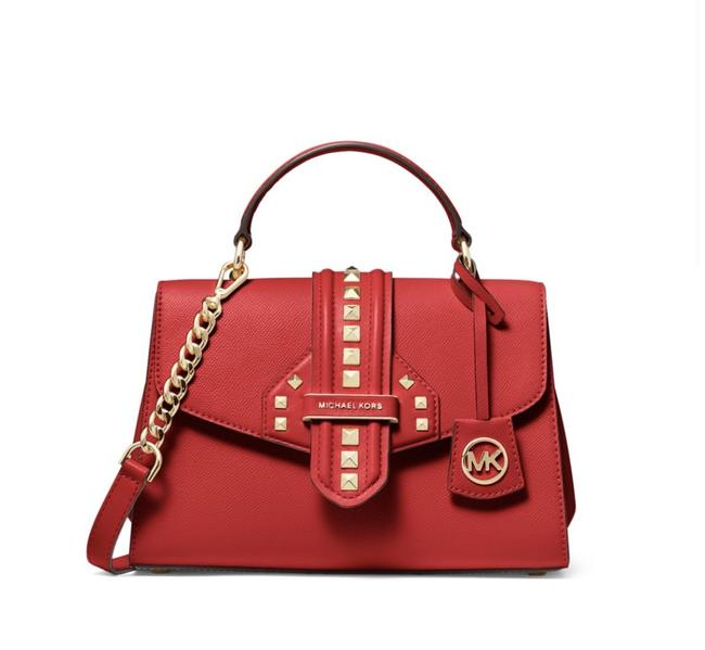 Item - Bleecker Small Studded Bright Red/Gold Leather Satchel