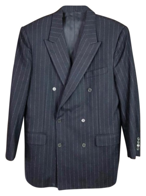 Item - Black Blue Men Career Made In Italy 50r Pant Suit Size OS (one size)