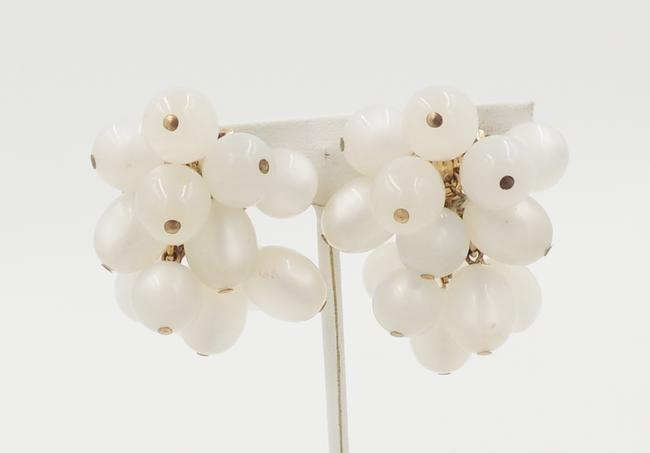 Item - White Gold 1950s Moonglow Bead Earrings