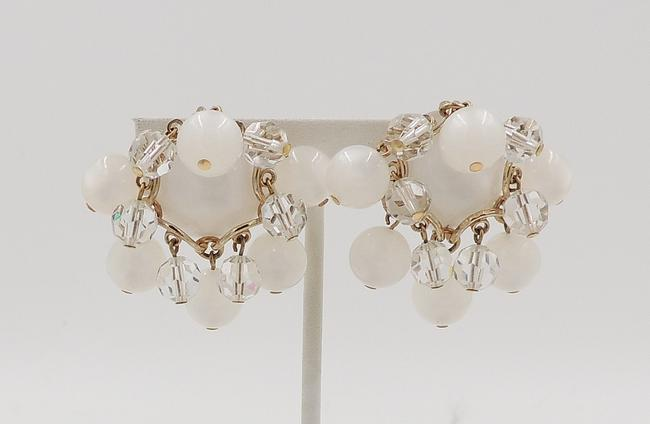 Item - Gold White Clear 1950s Moonglow Dangles Earrings