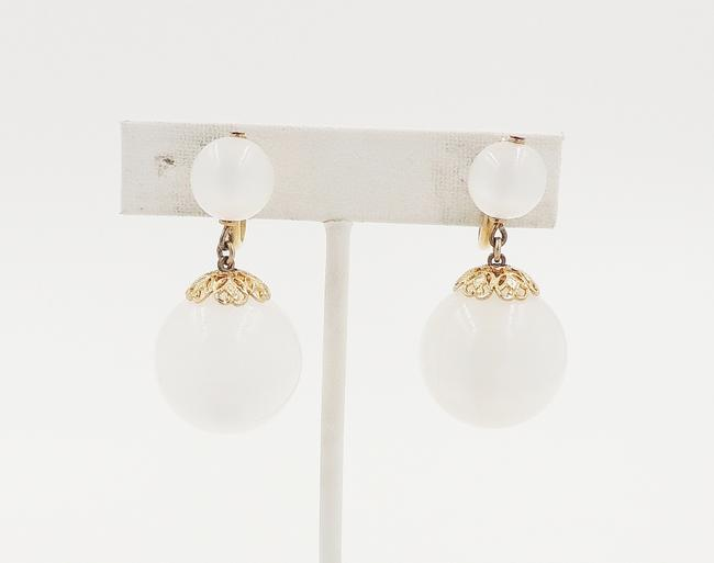 Item - Gold White 1950s Moonglow Drop Earrings
