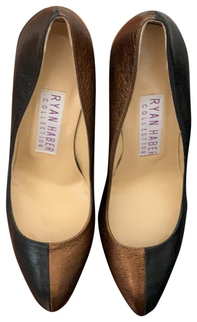 Item - Black and Brown/Gold Shimmer Collection Leather Pumps Size EU 38.5 (Approx. US 8.5) Regular (M, B)