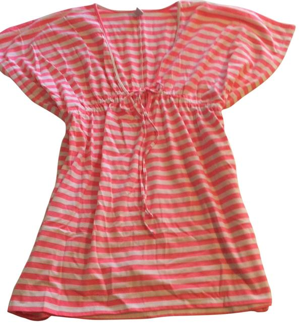 Item - Pink and White Striped Beach Short Casual Dress Size 6 (S)