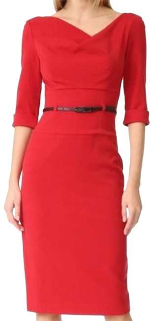 Item - Red Belted Jackie O 3/4 Sleeve Mid-length Formal Dress Size 4 (S)