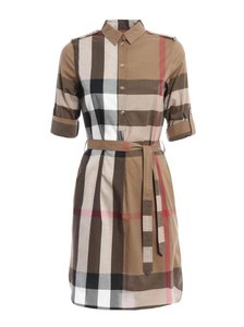 Burberry short dress Brown Button Belted Check Collar Cotton on Tradesy