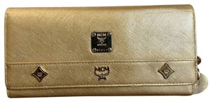 MCM Studded Gold Leather Long Tri-fold Wallet W/ Princess Lion Charms