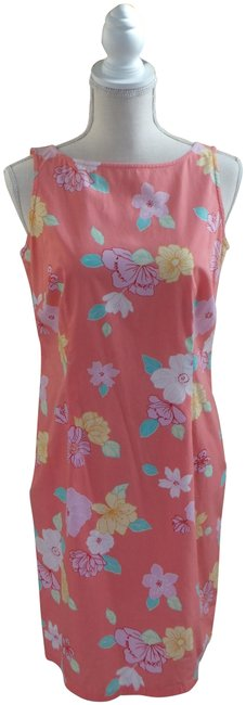 Item - Coral Tropical Floral Sleeveless Mid-length Short Casual Dress Size 4 (S)