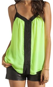 PJK Patterson J. Kincaid Color-blocking Highlighter Yellow Colorblocked Button Down Adjustable Straps Top Black