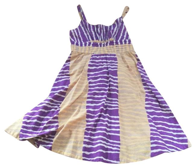 "Item - Purple & Yellow ""fei"" Mid-length Short Casual Dress Size 4 (S)"