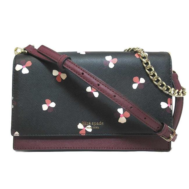 Kate Spade Cameron Convertible Dusk Buds Ditsy (Black Burgundy Flower Motif) Leather Cross Body Bag Kate Spade Cameron Convertible Dusk Buds Ditsy (Black Burgundy Flower Motif) Leather Cross Body Bag Image 1
